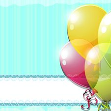 Free Vintage Card With Balloons Stock Image - 24975921
