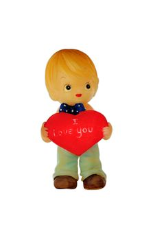 Free Boy Doll Hold Red Heart Royalty Free Stock Photography - 24976437