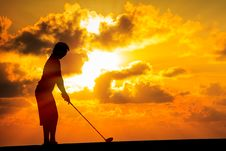 Silhouette Golfer Stock Photo