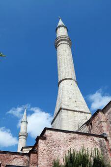 The Minaret Of Hagia Sophia, Istanbul. Stock Photography