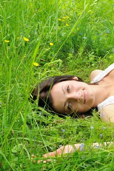 Free Girl On Grass Stock Image - 24987241