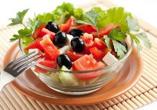 Fresh Greek Salad In A Glass Bowl Royalty Free Stock Photos