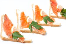 Bread With Butter And Salmon Royalty Free Stock Photo
