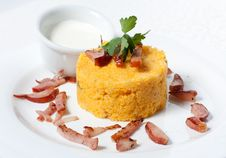 Free Сorn Porridge With Bacon And Sour Cream Royalty Free Stock Photos - 24989738