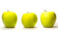 Free Three Yellow-green Apples On White Background. Royalty Free Stock Photo - 24996565