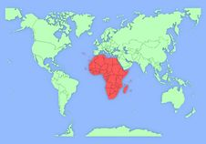 Free Three-dimensional Map Of Africa Isolated. 3d Royalty Free Stock Image - 24990686