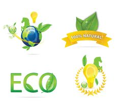 Nature Earth Eco Sign Set Green Color Stock Photos
