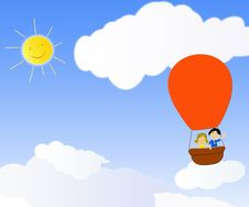 Children In A Hot Air Balloon Royalty Free Stock Photography