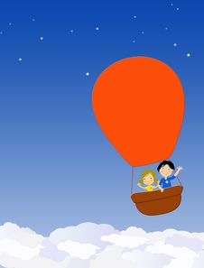 Free Children In A Hot Air Balloon Stock Photos - 24995143