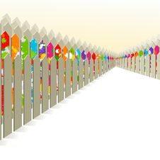 Free Bright Fence Among The Gray. Royalty Free Stock Images - 24999849