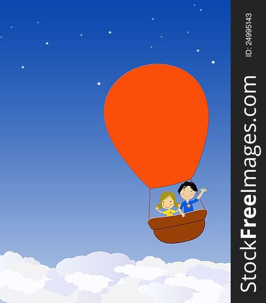 Children in a hot air balloon