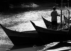 Free Silhouette Boats In Black & White Stock Image - 250091