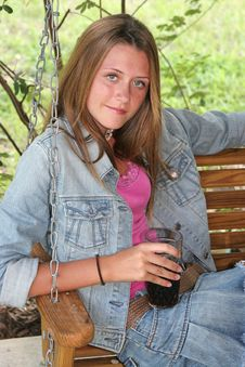 Girl With Cold Drink Stock Photography