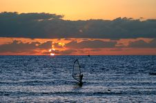 Free Windsurfing At Sunset Stock Images - 252464
