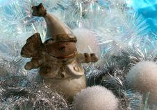 Free Ceramic Snowman With Silver Tinsel Stock Image - 258791