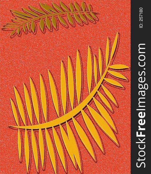 Tangerine Fern Background
