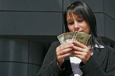 Portrait Of Woman With Dollars Royalty Free Stock Photo