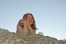 Free Girl On Rock Royalty Free Stock Image - 2505666