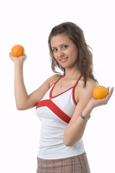 Free The Girl With Oranges Stock Image - 2506481