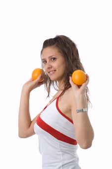 Free The Girl With Oranges Royalty Free Stock Photo - 2506485