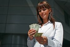 Portrait Of Woman With Dollars Royalty Free Stock Image