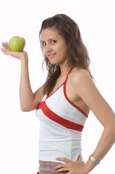 Free The Girl With A Green Apple Royalty Free Stock Photography - 2507617