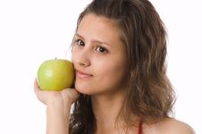 Free The Girl With A Green Apple Stock Photo - 2507620