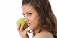 Free The Girl With A Green Apple Stock Photos - 2507623