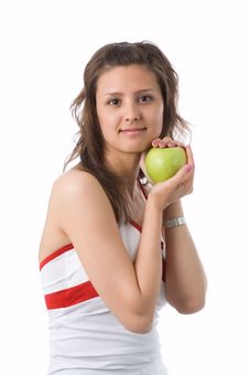 Free The Girl With A Green Apple Royalty Free Stock Photos - 2507628