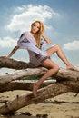 Free Beautiful Blonde Woman In White Shirt Stock Image - 25005521