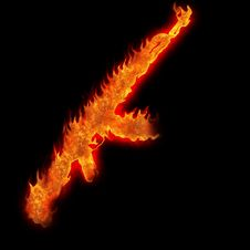 Free Burning Kalashnikov Ak47 Royalty Free Stock Photography - 25000537