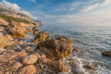 Rocky Coastline, Sea Background Stock Photography