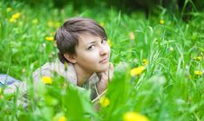 Free Girl On Dandelion Royalty Free Stock Photography - 25002947