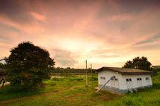 Landscape Of An Old Farmhouse Stock Photos