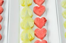 Free Red Heart Watermelon With Pineapple On The Dish Stock Images - 25003794