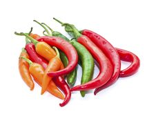 Free Green Orange Red Chilli On White Back Ground Stock Image - 25004451