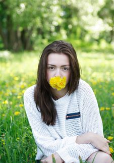 Free Girl With Dandelions Royalty Free Stock Image - 25005156