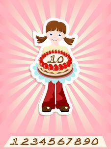 Free Girl With Birthday Cake Royalty Free Stock Photos - 25008378