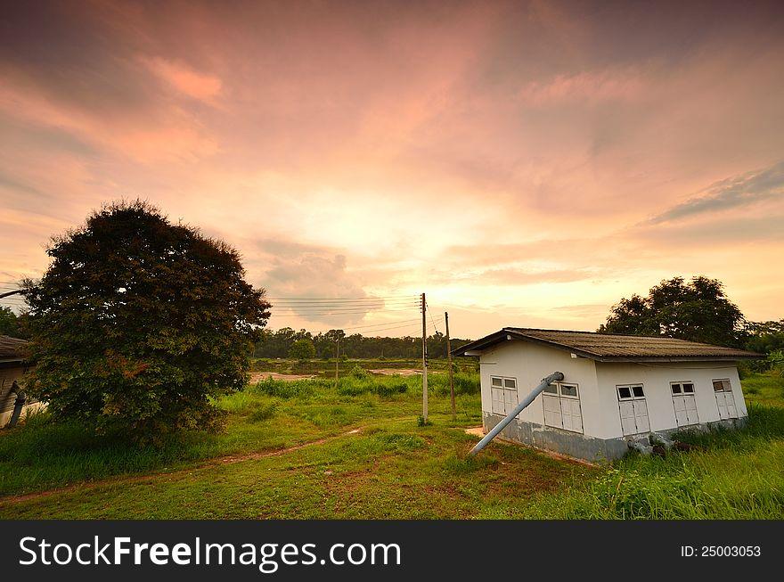 Landscape of an old farmhouse