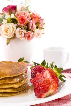 Free Pancake Maple Syrup On Top With Coffee Stock Photography - 25013432