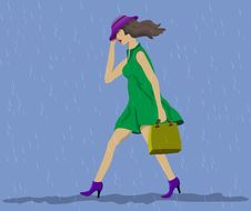 Free Moves Fast Woman. Steady Rain. Royalty Free Stock Photo - 25014335