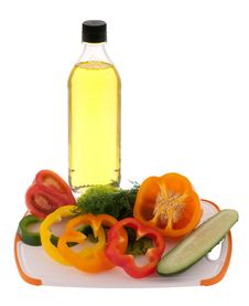Free Sliced Vegetables And Olive Oil Stock Photo - 25014510