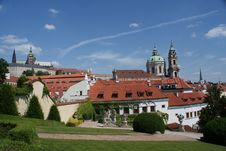 Prague Castle View From French Garden Royalty Free Stock Images