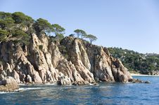 Free Spain.  Lloret De Mar. The Rocky Coast. Royalty Free Stock Image - 25016436