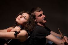 A Girl And Fellow Is Musicians Royalty Free Stock Image