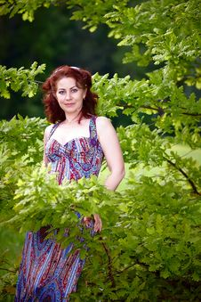 Free Woman With Oak Branches Stock Image - 25031741