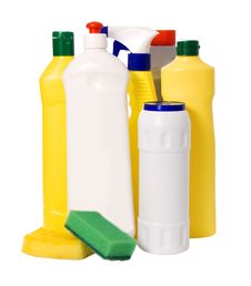 Detergent Bottles And Sponges Stock Photography