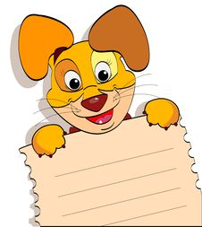 Free Smiling Dog With A Sheet Of Notebook Royalty Free Stock Photography - 25037937