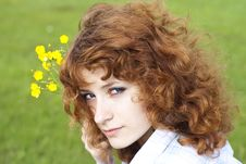Free Summer Image Of Cute Young Woman With Flower Royalty Free Stock Images - 25038519