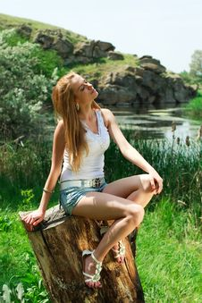 Free Beautiful Girl On The Background Of Landscape Stock Photos - 25039783
